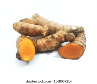 turmeric with a white background. turmeric as one of the spices in Indonesian cuisine. Curcuma Longa.