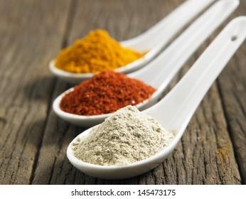 Turmeric ,white pepper and chili powder in spoon