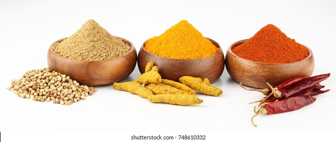 Turmeric,Chilly,Coriander Powder and Coriander Seeds,Dry Chilly,Turmeric Root