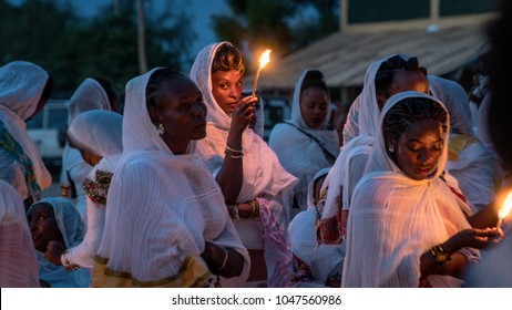 Turmi, Ethiopia - September 2017: Unidentified Ethiopian people celebrating the Meskel festival in Ehtiopia. Meskel commemorates the finding of the True Cross