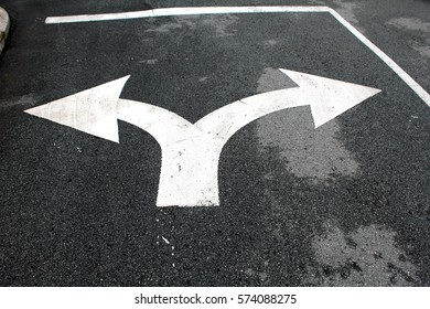 turn left or right white symbol on the road