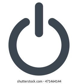 Turn Off icon. Glyph style is flat iconic symbol with rounded angles, smooth blue color, white background.