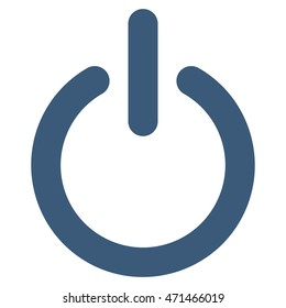 Turn Off icon. Glyph style is flat iconic symbol with rounded angles, blue color, white background.