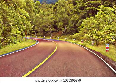 Turn on empty forest road. Summer travel landscape vintage digital illustration. Highway and roadside. Summer forest and asphalt road. Bus or automobile trip road view. Asphalt road in wild nature