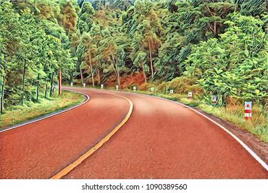Turn on empty forest road. Summer travel landscape vintage digital illustration. Highway with green roadside. Summer forest with asphalt road. Automobile trip road view. Asphalt road in wild nature