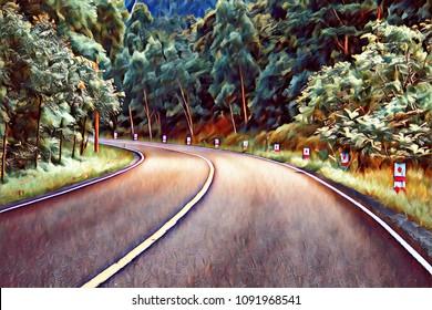 Turn on empty forest road. Summer travel landscape retro digital illustration. Highway with green roadside. Summer forest with asphalt road. Automobile trip road view. Asphalt road in wild nature