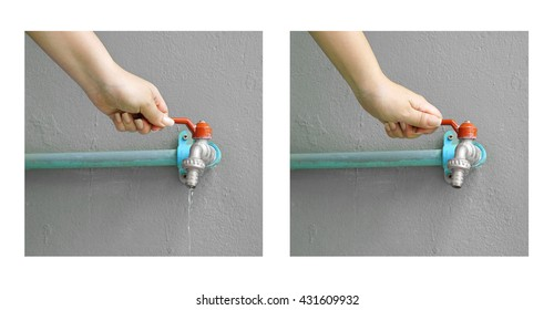 Turn on and turn off tap water by female hand ( let's save water for the world)