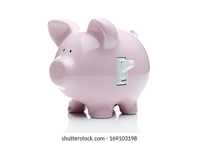 Turn on the savings. Piggy bank with a light switch.