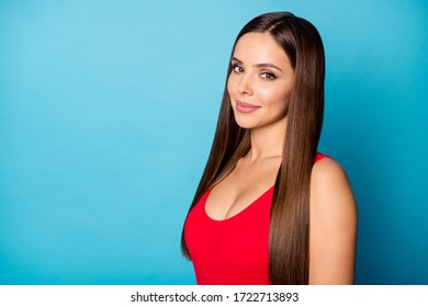 Turned close up photo of lovely nice lady listen her friend talk wear modern springtime clothes isolated over blue color background