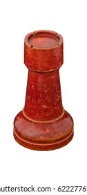 Turned stained red birchwood chess rook from Soviet Union