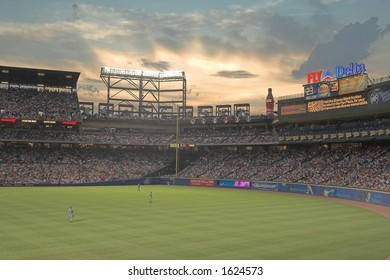 Turner Field, the home of the Atlanta Braves, seen during a sunset