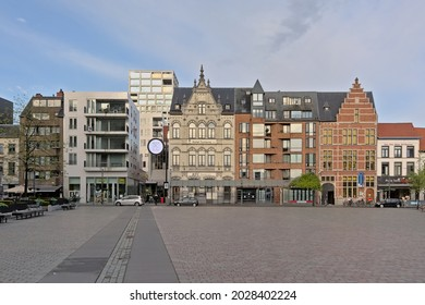 TURNHOUT, BELGIUM, MAY 13, 2021, Medieval guild houses and modern apartment blocks ion Grote Markt square in Turnhout, 13 MAy 2021