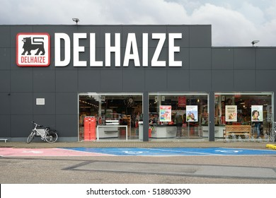 TURNHOUT, BELGIUM - OCTOBER 20: Delhaize supermarket, part of Delhaize Group, an international food retailer, Merged with Ahold to Ahold Delhaize NV. Taken in Turnhout, Flanders on October 20, 2016