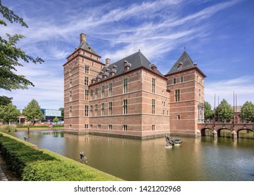 TURNHOUT-JUNE 9, 2019. Castle of the Dukes of Brabant (12th century). In the 18th and 19th century it fell into disrepair and has restored by the county (20th century). Currently, it is a courthouse.