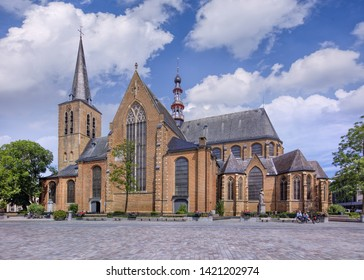 TURNHOUT-JUNE 9, 2019. Roman Catholic Saint Pieter church on market Square of Turnhout, in the north of the Belgian province Antwerp. It is the oldest church in town dating back to 12th century.