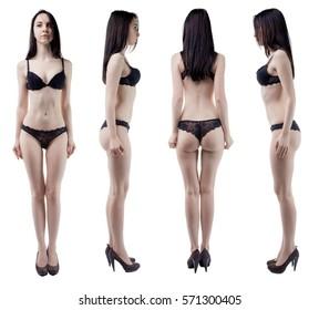 Turning around slim woman