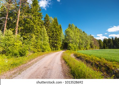 Turning empty rural road goes near green field under blue sky in bright summer day. Empty landscape background photo, Finland