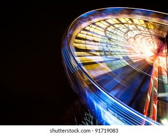 Turning Ferris wheel on a New Year market
