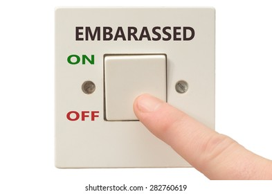 Turning off Embarassed with finger on electrical switch