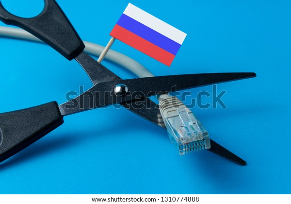 Turning Off Internet Flag Russia Cutting Stock Photo (Edit