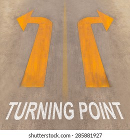 Turning Point on the road with Yellow arrows