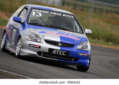 Turning racing car