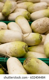 Turnips on a market stall in Harbour Town, Queensland, Australia. Full-frame, Background, Healthy Food.