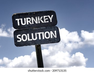 Turnkey Solution sign with clouds and sky background