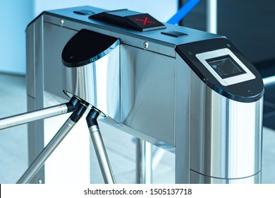 Turnstile. Pass with a magnetic card. Barrier for people. Electronic cards for passage. Checkpoint systems. Refused to enter the building. Access is denied.Access control and management system.Secured
