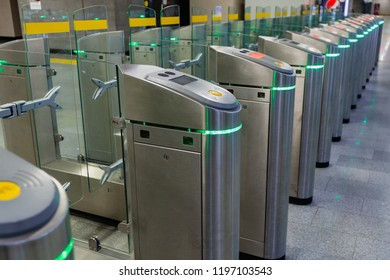 Turnstiles installed at the station