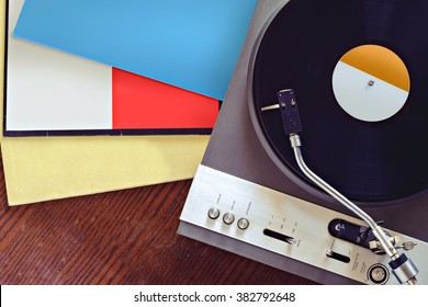 Turntable with blank record covers top view