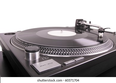 Turntable with dj needle on record, closed-up on black table