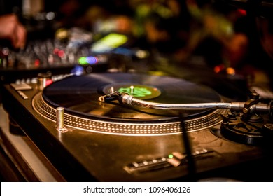 turntable gramaphone at dj party night club music equipment