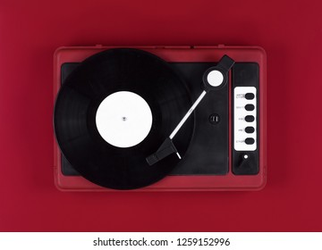 turntable on red background