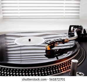 Turntable Playing Record Close Up