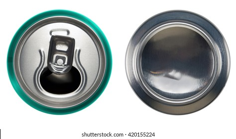 Turquoise aluminium open can and bottom can.