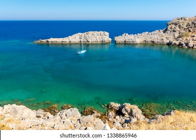 turquoise bay in Lindos on Rhodes island in Greece