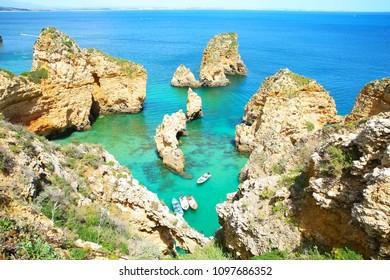 Turquoise bay at Ponta da Piedade in Algarve, Portugal
