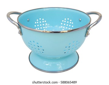 Turquoise blue colander. Isolated.