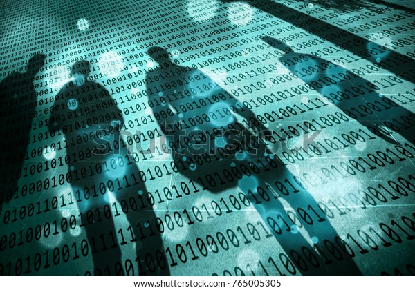 Turquoise blue colored shadows of walking people with conceptual binary code numbers background. Conceptual spy and artificial intelligence background.
