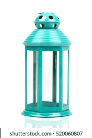 Turquoise blue lantern. Candlestick in the form of retro lamp. White candle holder. An isolated object on white background. Top  view. Closeup.