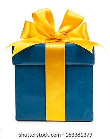 Turquoise box with a gift and a yellow bow isolated on white background