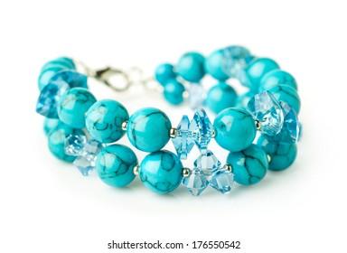 turquoise bracelet isolated on white