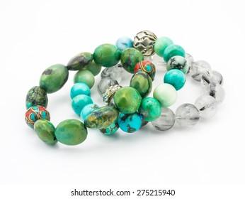 turquoise bracelet stone on white background