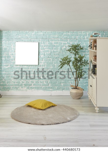 turquoise brick wall home yellow pillow and cabinet with flower pot interior decoration