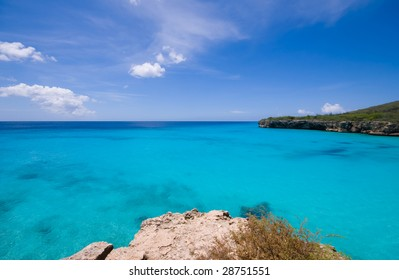 turquoise caribbean bay view  with a nice deserted beach