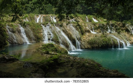 Turquoise cascades hidden in jungle