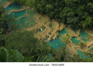 Turquoise cascades seen from above