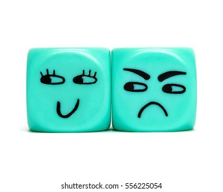 Turquoise conceptual dices - Jealousy, feeling ignored