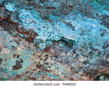 Turquoise and copper rock.